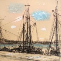 Նավահանգիստը | Le Port | Թանաք, ջրաներկ, թուղթ | Encre, aquarelle sur papier d'art | 54×45 cm | 1960