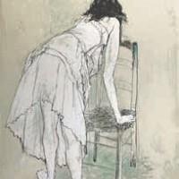 Աղջիկն աթոռի մոտ | La fille à la chaise | Վիմագրություն | Lithographie 76x53.5 cm | 1986
