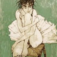 Բալետի պարուհին կանաչ ֆոնին Ballerine sur fond vert | Վիմագրություն | Lithographie | 32x26 cm | 1995