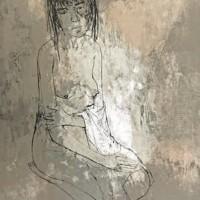 Մերկ բնորդուհին սրբիչով | Nu à la serviette | Վիմագրություն | Lithographie | 76×56.5 cm | 1968