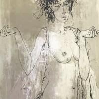 Ժոելը՝ գլխազարդով | Joëlle au diadème | Վիմագրություն | Lithographie | 76x55 cm | 1979