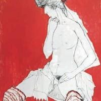 Ժոելը՝ գուլպաներով (կարմիրի վրա) Joëlle aux jambières - état rouge | Վիմագրություն | Lithographie | 76x56 cm | 1995