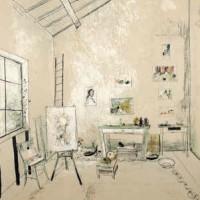 Կանաչ սեղանով արվեստանոցը | L'atelier à la table verte | Վիմագրություն | Lithographie | 76x54 cm | 1986