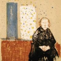 Փոքրամարմին ծեր կինը կապույտ դռան առջև | Petite vieille à la porte bleue | Փորագրանկար | Gravure | 28.5×25.5 cm | 1972