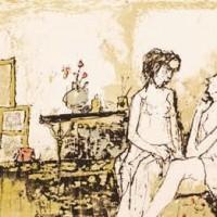 Ծաղկազարդ վարագույրներով արվեստանոցը | Atelier au rideau fleuri | Վիմագրություն | Lithographie | 28×36.5 cm | 1995