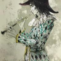 Սրինգով ծաղրածուն | Arlequin à la flûte | Վիմագրություն | Lithographie | 104x73 cm | 1985