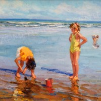 Charles Atamian At the beach, oil on canvas