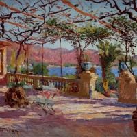 Charles Atamian Terrace a Antibes, oil on panel