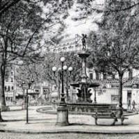 Ֆրանսիական թատրոնի հրապարակը | La place du théâtre français | Վիմագրություն | Lithographie | 41x56 cm | 1986
