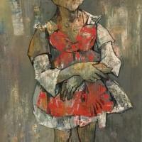 Կարմիր զգեստով աղջիկը | Girl in red dress | Յուղաներկ, կտավ |Oil on canvas | 80×40 cm | 1958