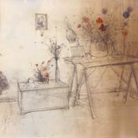 Բնանկար իշոտնուկով | Nature morte aux tréteaux | Մատիտ, ջրաներկ | Crayon, aquarelle | 50.5×66 cm | circa 1982