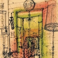 Միջնապատ վարագույրով | Le Paravent | Վիմագրություն | Lithographie | 52.5×29.5 cm | 1986