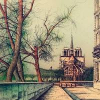 Դեպի Աստվածամոր տաճարը II | Vers Notre-Dame II | Վիմագրություն | Lithographie | 55x76 cm | 1983