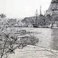 Դե Պասի առափը | Le quai de Passy | Վիմագրություն | Lithographie | 41x56 cm | 1986