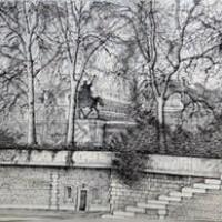 Աստվածամոր տաճարի պուրակը | Le square Notre-Dame | Վիմագրություն | Lithographie | 41x56 cm | 1986