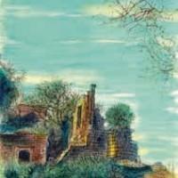 Սադի ամրոցի ավերակները Ruines du chateau de Sade | Վիմագրություն | Lithographie 32x24.5 cm | 1965