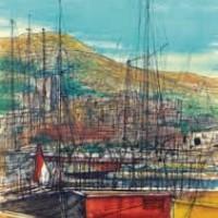 Մոնակոյի նավահանգիստը Le port de Monaco | Վիմագրություն | Lithographie 32x24.5 cm | 1965